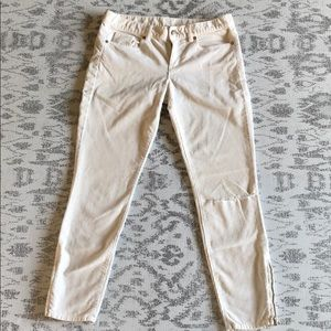 J. Crew Ivory Corduroys With Ankle Zips, size 28